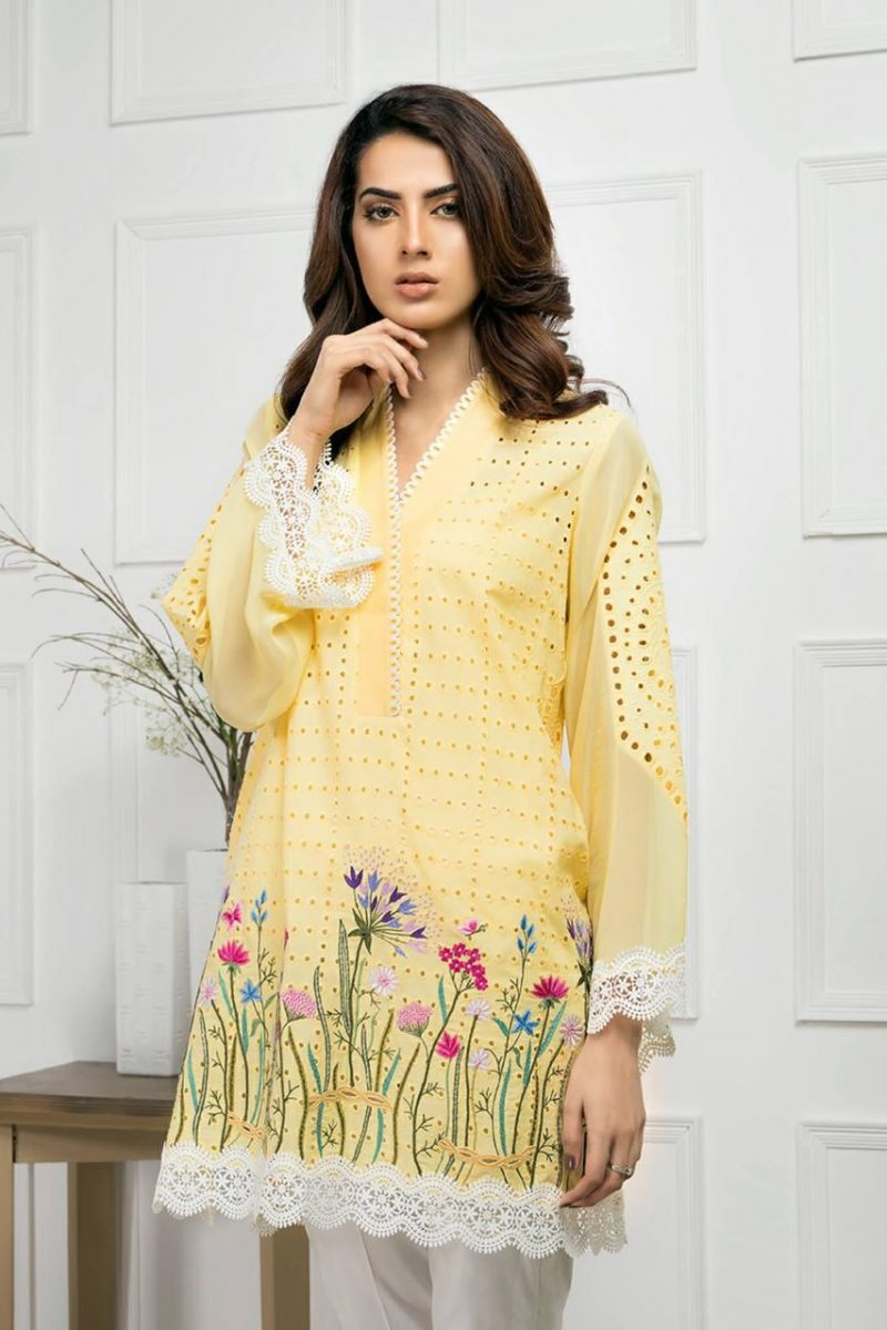 MARIA YELLOW-EMBROIDED 2PC LAWN DRESS SHIRT & TROUSER