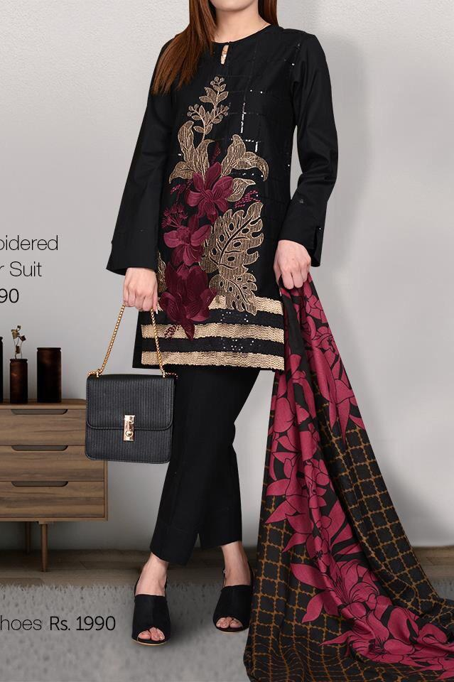 LIMELIGHT 18459-EMBROIDED 3PC UNSTICHED LAWN DRESS WITH PRINTED CHIFFON DUPATTA.
