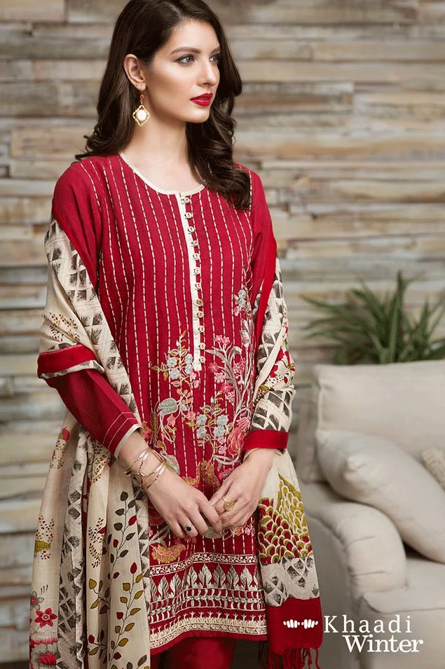 KHAADI RED-EMBROIDED 3PC KHADDAR DRESS WITH WOOL SHAWL